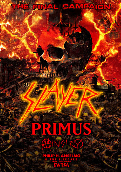 Here's the Slayer's The Final Campaign tour dates: