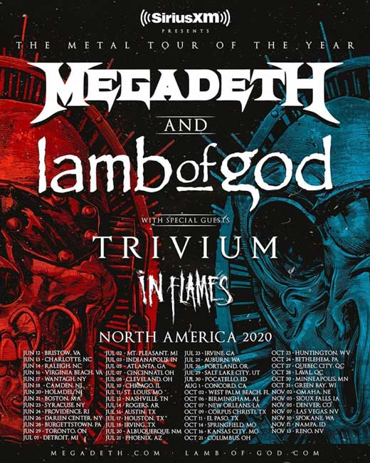 Megadeth and Lamb Of God 2020 North America tour w/ Trivium and In Flames: