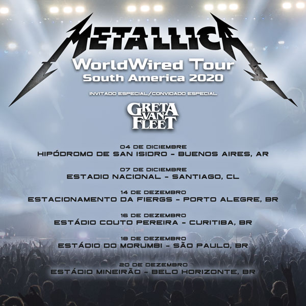 Metallica South American 2020 tour dates