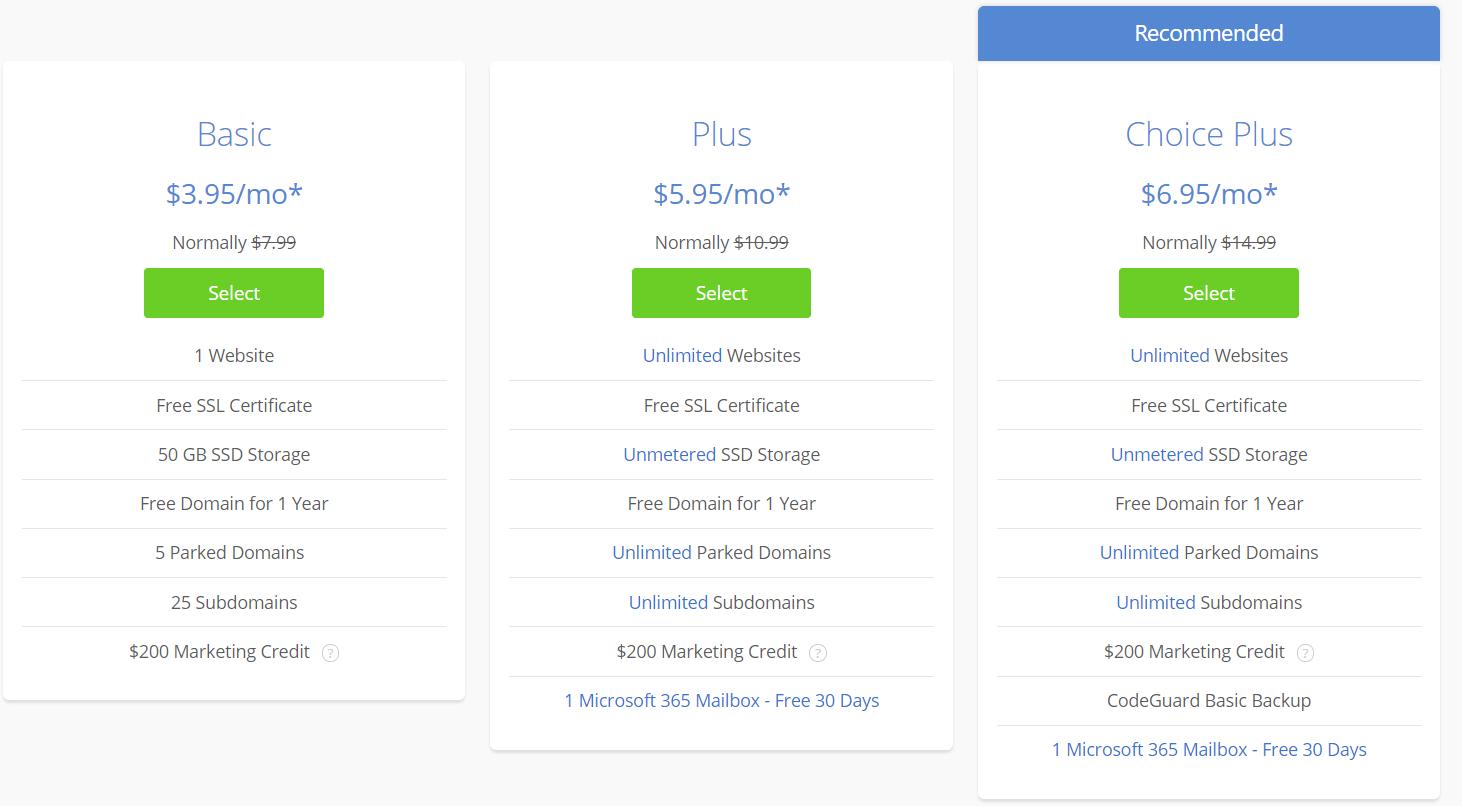Bluehost, WordPress Web Hostin Prices